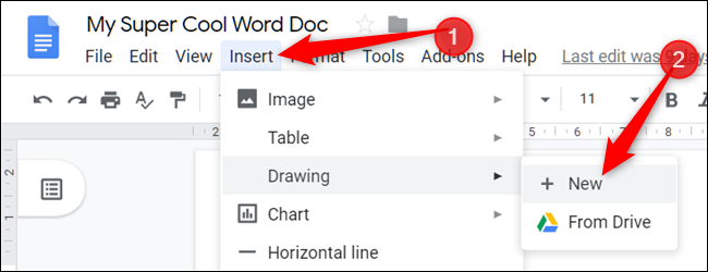 """Click """"Insert,"""" select """"Drawing,"""" and then click """"+ New."""""""