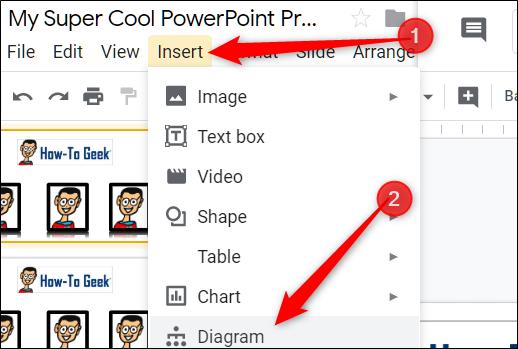 """Haga clic en """"Insertar"""" y luego seleccione """"Diagrama""""."""