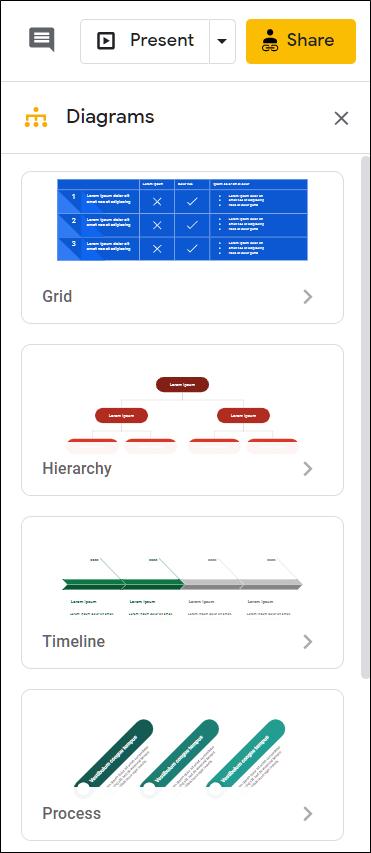 The diagram styles menu.