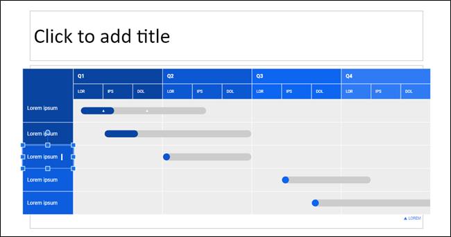 Un diagrama con un cuadro seleccionado para editar en Presentaciones de Google.