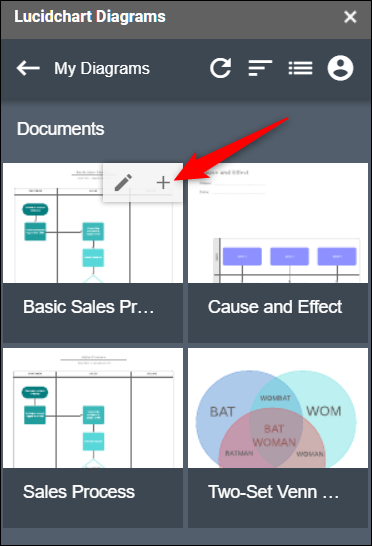 Click the plus sign (+) to insert a diagram into your document.
