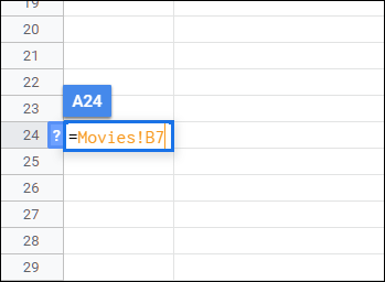 Type = followed by the name of the sheet and the cell you want to import.