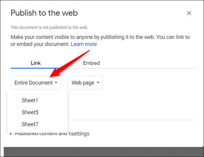 """Click """"Entire Document,"""" and then choose the sheet you want to publish from the drop-down menu."""