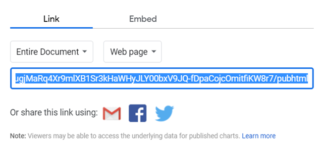 A link highlighted and ready to be copied.