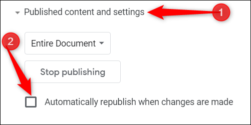 """Click """"Published Content and Settings,"""" and then uncheck the box next to """"Automatically Republish When Changes Are Made."""""""
