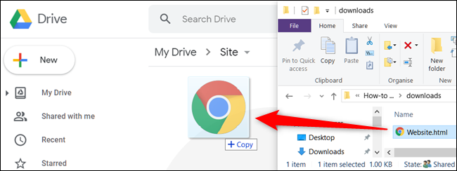 Drag your file from your computer into your Google Drive to upload it.