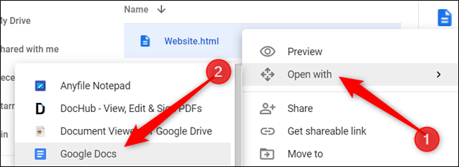 "Click ""Open with"" and select ""Google Docs."""