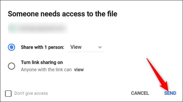 """En el mensaje que aparece, revise los permisos y haga clic en """"Enviar""""."""