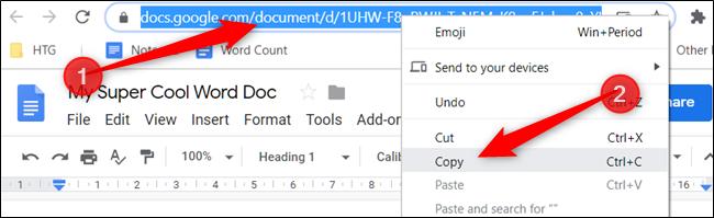 """Haga clic derecho en la URL en la barra de direcciones y haga clic en """"Copiar""""."""