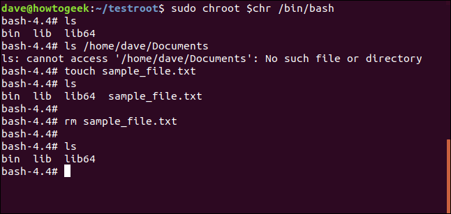 touch sample_file.txt in a terminal window