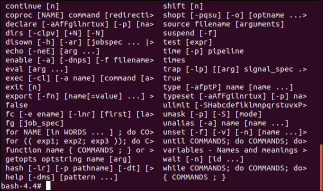 Output of the help command in a terminal window