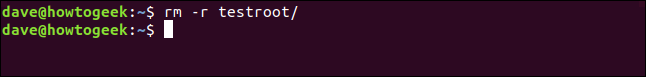 rm -r testroot/ in a terminal window