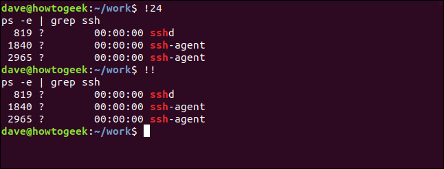 """A """"!24"""" command in a terminal window."""
