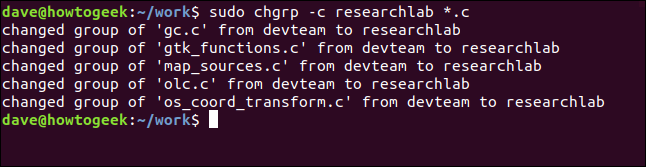 sudo chgrp -c researchlab *.c in a terminal window