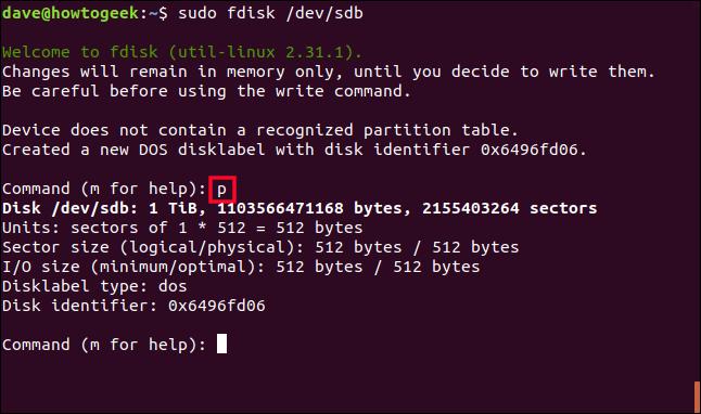 sudo fdisk /dev/sdb in a terminal window
