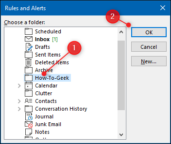 """Select the folder you want to move the emails to, and then click """"OK."""""""