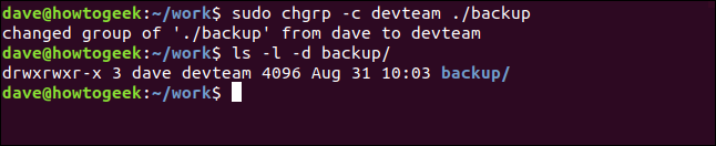 sudo chgrp -c devteam ./backup in a terminal window