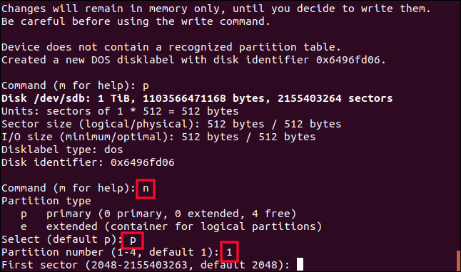 creating a partition with fdisk in a terminal window