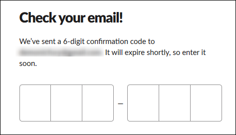 The textbox to enter your 6-digit confirmation code.
