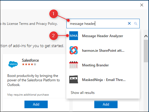 "The add-ins search box, with the ""Message Header Analyzer"" result highlighted."