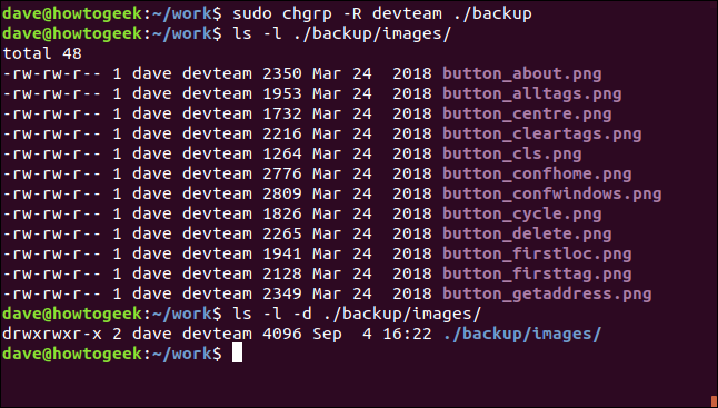 sudo chgrp -R devteam ./backup in a terminal window