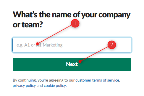 The textbox to enter the name of your workspace, and the Next button.