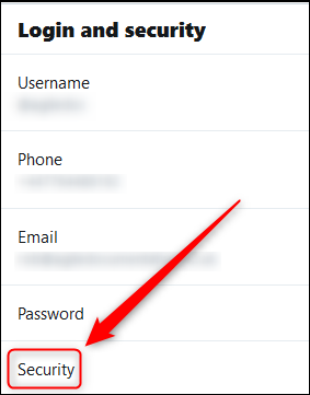 """The """"Login and Security"""" menu with the Security option highighted."""