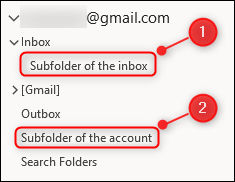 Right-click the Inbox, to create a new subfolder. Right-click the email account to create a folder on the same level as the Inbox.