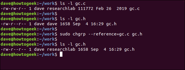 sudo chgrp --reference=gc.c gc.h in a terminal window