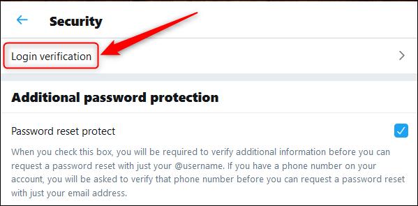 "The ""Login Verification"" option."