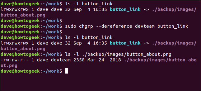 sudo chgrp --dereference devteam button_link in a terminal window