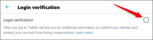 "The ""Login verification"" checkbox."