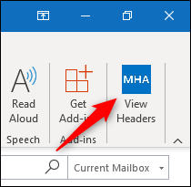 "The ""View Headers"" button in the Outlook ribbon."