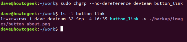 sudo chgrp --no-dereference devteam button_link in a terminal window