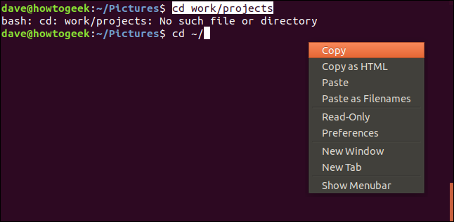terminal window with context menu and copy highlighted