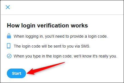 """The """"Login verification"""" Start button."""