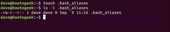 touch .bash_aliases in a terminal window
