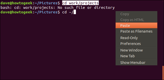 terminal window with context menu and paste selected