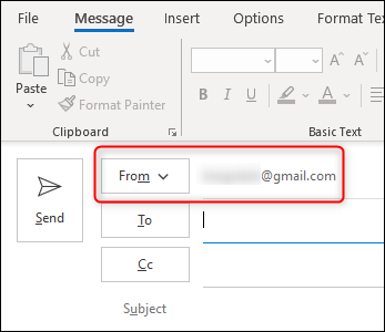 "The ""From"" line in the ""New Email"" window."