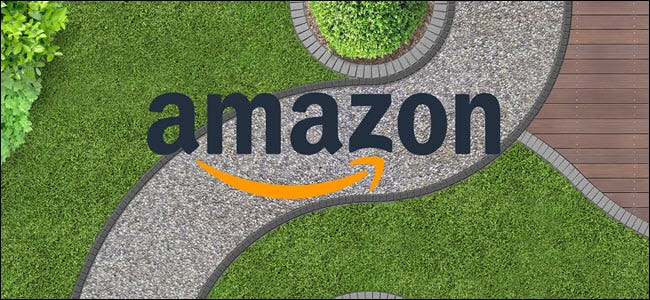 An overhead shot of a winding sidewalk with the Amazon Logo on top.
