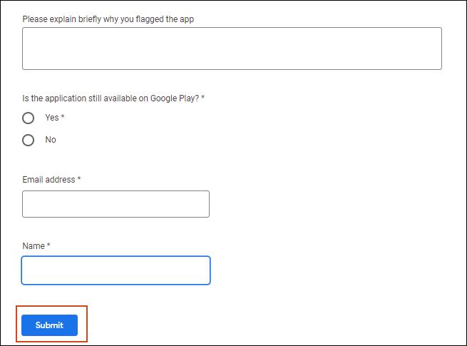 Proporcione el comentario de la queja, la dirección de correo electrónico y el nombre y haga clic en enviar