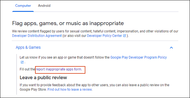 Click report inappropriate apps here link