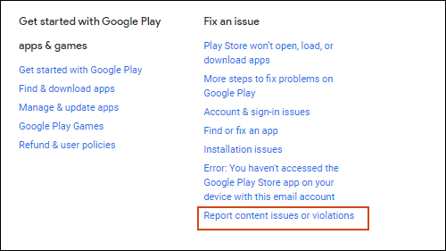 Click Report content issues or violations