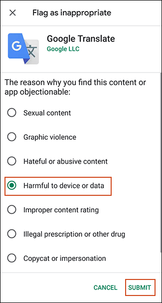 Fill out suspicious apps form in Google Play Store