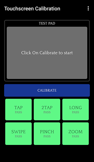 Open the Touchscreen Calibration app and tap Calibrate