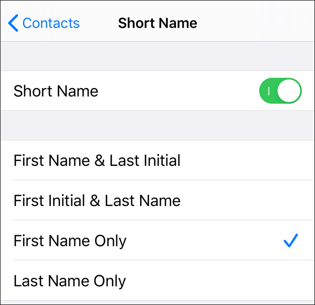Choose options for Short Name