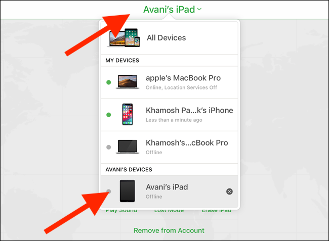 Click or tap the Devices drop-down and select your iPad.