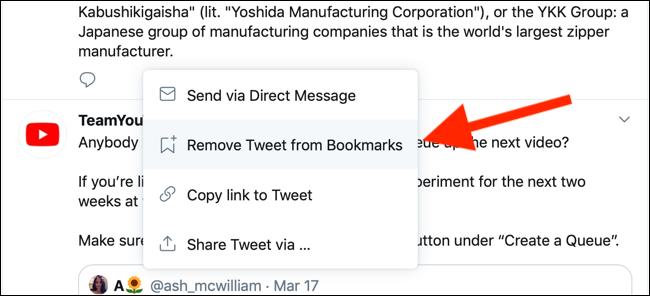 Click on Remove Tweet from Bookmarks to remove it from the bookmarks section