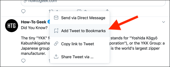Click to add a tweet to bookmarks