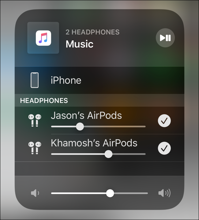 Control volume for both AirPods together or individually